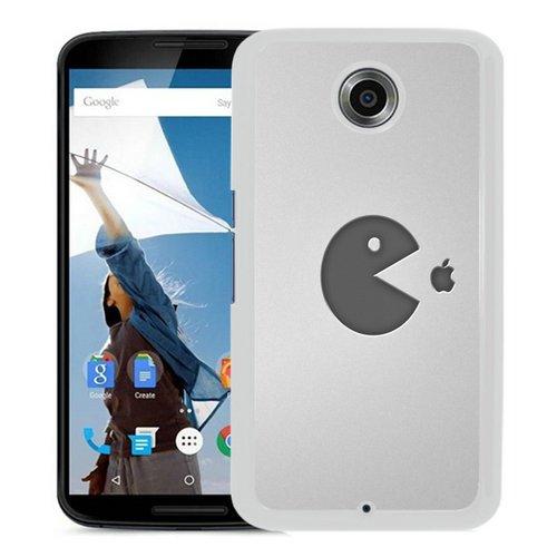 Custom Nexus 6 case, pacman food apple White Google Nexus 6 Cover