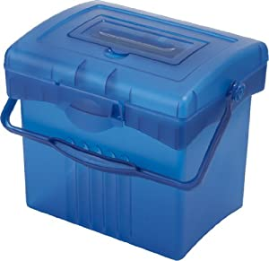 Storex Economy Portable File Box for Letter Size Hanging Files, Blue (61501U01C)