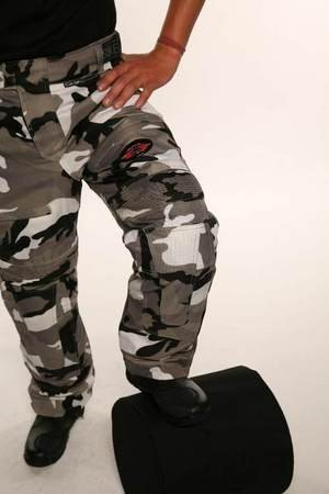 Australian Bikers Gear Grey Camo Waterproof Armoured Motorcycle Trousers (36S) - 36S