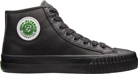 PF FLYERS Men's Center Hi Leather (Black Leather 11.5 M)