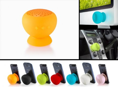 Ispeak Uk High Quality Performance Mini Portable Bluetooth Speaker W/ Mic Beautiful Design And Suction Cup (Black)