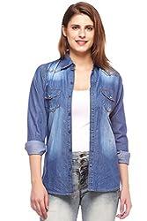 Fasnoya Women's Slim Fit Denim Shirt