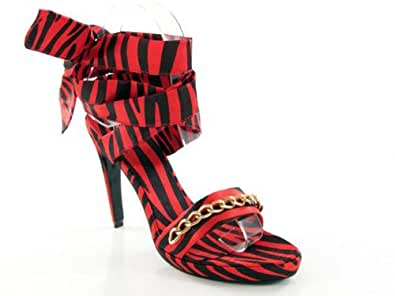 "Animal Prints Black/Red Zebra ""Angelina"" D2 by Dikuza Women's Zebra Platform Ankle Wrap Party Prom Pageant Evening Bridesmaid Shoes Sandal"