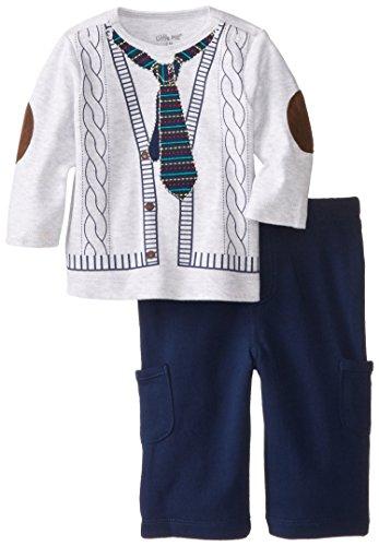 Little Me Baby-Boys Newborn Tie 2 Piece Pant Set, Navy/Multi, 6 Months front-939400
