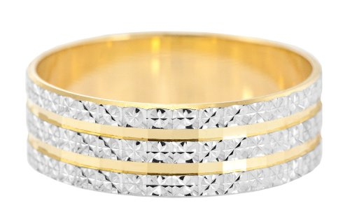 Wedding Ring, 9 Carat Two Colour Gold Light Flat Diamond Cut, 6mm Band Width