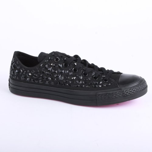 Converse Chuck Taylor All Star Rhinestone Ox 540232C Womens Laced Canvas  Trainers Black Black 3 9e747944d
