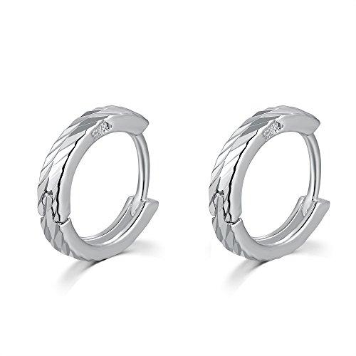 "925 Sterling Silver Polish Finishing Diamond-Cut Huggie Hoop Earrings (0.6""), Girlfriend Small Gift"