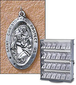 Sterling Silver St. Christopher Medal (Pendant-Charm) Oval Patron Saint with 24