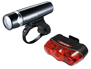 CatEye Uno (Black) and Rapid 3 Bicycle Headlight and Rear Safety Light Combo Kit HL-EL010/TL-LD630