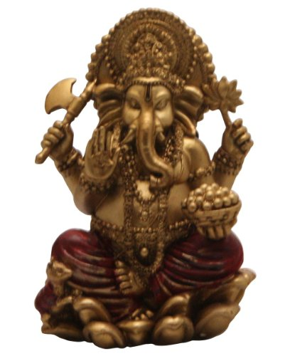 Red and Gold Finish Seated Ganesh Statue