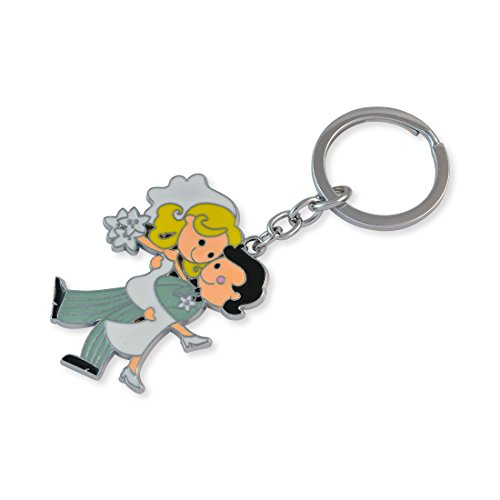 Cartoon Wedding Couple Silver Color Key Chain By Sarah