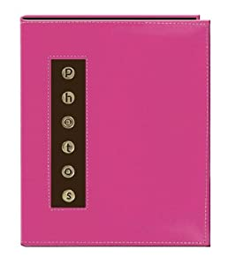 "Pioneer Metal Button ""Photo"" Sewn Leatherette Cover Brag Album, Pink"
