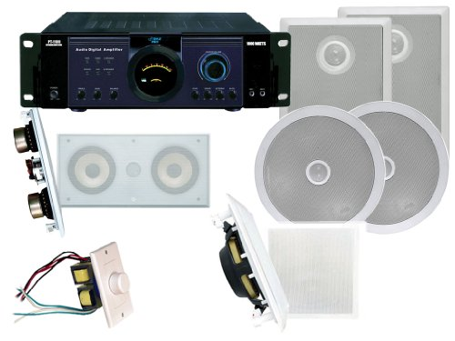 """Pyle Deluxe Amplifier/Subwoofer/Speakers Package For Home/Office/Schools/Public -- Pt1100 1000W Power Amplifier + Pdiws10 10"""" In-Wall High Power Subwoofer + Pdiw52 5.25"""" Two-Way In-Wall Speaker System / Directional Tweeter + Pdic60 250W 6.5"""" Two-Way In-Ce"""