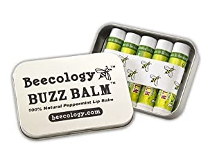 Buzz Balm Peppermint Lip Balm Five-pack Tin