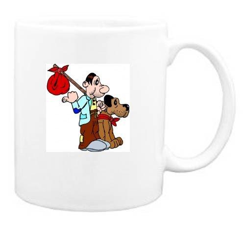 Mug with man, traveler, body, individuals, individual, hobo, humans, with, dog, person, human, persons, vagabond, people