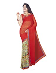 Aadarshini Women's Crepe Saree (107, Off White And Pink)