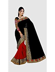 Best And Top Ladies Party Wear Black Red Chiffon Saree For Women & Girls