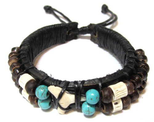 Real Shark Tooth Leather Bracelet - Handmade Bracelet - Hawaiian Style (Leather Bracelet For Men Shark compare prices)