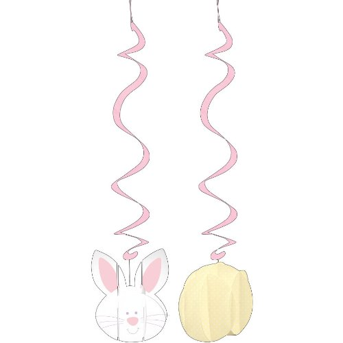 Creative Converting Dimensional Bunny Face Dizzy Danglers Hanging Party Decorations, 2 Per Package