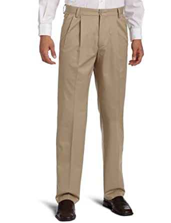 Dockers Men's Iron Free Khaki D3 Classic Fit Pleated Pant, British Khaki, 40X36