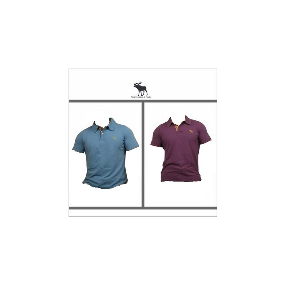 Brand New Blue & Purle Abercrombie & Fitch Mens Short Sleeve Polo Shirt Muscle Fit Size XL