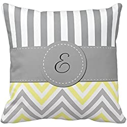 Decors Monogram - Zigzag (Chevron) - Yellow Gray White Throw Pillow Case Cushion Cover Home Sofa Decorative 16 X 16 Squares Case Cushion Cover Home Sofa Decorative 16 X 16 Squares (Twin Sides)
