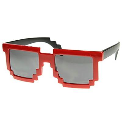 Retro Novelty Nerd Geek Gamer Colorful 2-Tone Pixel Glasses (Red)