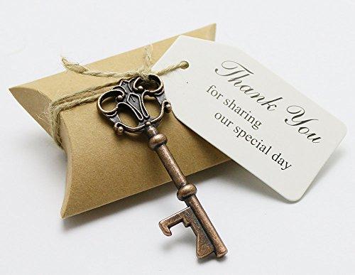 50pcs Bomboniere Candy Box w scheletro chiave apribottiglia Escort Cards-Biglietti di ringraziamento Tag Cuscino Box, metallo, Gold, Key Style #3