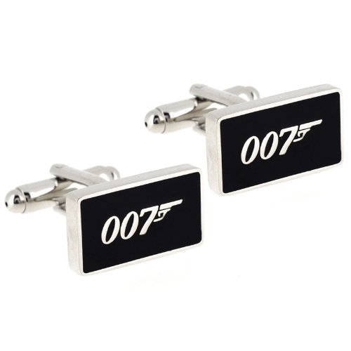James Bond 007 Sign Cufflinks Black And Silver Cuff Links