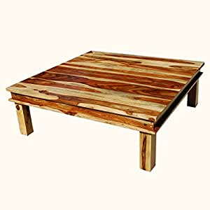 Large square wood rustic coffee table for Coffee tables amazon