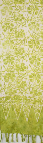 Indonesian Scarf - Lime Green Hibiscus Flowers On White