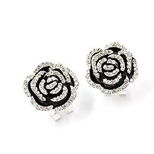 Elegant Black Rose Flowers Crystal Charms Stud Earrings