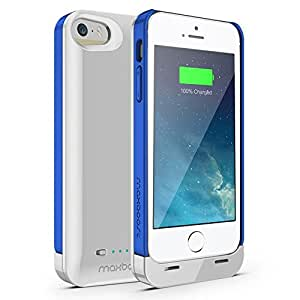 Maxboost Ambrosia iPhone 5S Battery Case / iPhone 5 Battery Case [Glossy White / True Blue] - 2400mAh External Protective Battery Charger Case Extended Backup Power Pack Cover Case Fit with Any Version of Apple iPhone 5 5S (Apple MFI Certified, Lightning Connector Output, MicroUSB Cable Input)[100% Compatible with iPhone 5/5S on IOS7.0+]