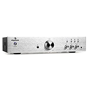 Auna AV2-CD508 Hifi Amplifier (Brushed Stainless Steel, 600W Max & EQ) - Silver