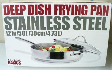 Tools Of The Trade Basics - Stainless Steel 12 Inch 5 Quart Deep Dish Frying Pan