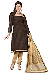 Lovely Look Latest Brown Embroidered Dress Material