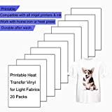 Printable Heat Transfer Vinyl Paper for Inkjet Printers, Iron-On Light T-Shirt Fabric HTV Transfers A4 Size, Pack of 20 Sheets