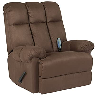 Best Choice Products Deluxe Microfiber Rocker Massage Recliner Heated Sofa Chair- Brown