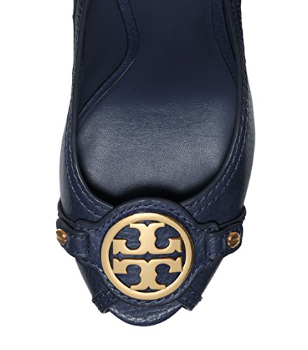 8fe5869fe07 pictures of Tory Burch Leticia Wedge Shoes Leather Open Toe TB Logo Pump  Heel (10