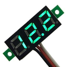 """RioRand Surface Mini 0.28"""" 12 DC Volt Meter 0~100V Green Digital Display Voltmeter Gauge LED Voltage Detector"""