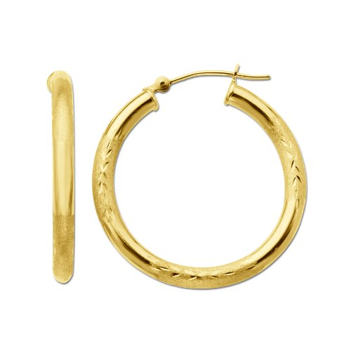 Duragold 14k Yellow Gold Diamond-Cut Hoop Earrings, (1.1