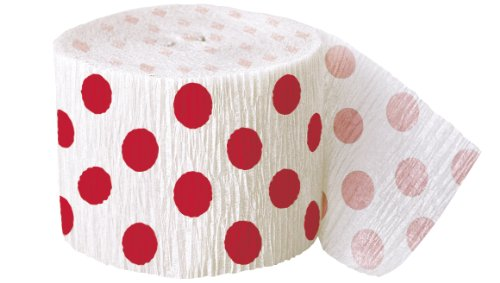Polka Dot Crepe Paper Streamers, 30 Feet, Red (Dot Crepe Paper compare prices)