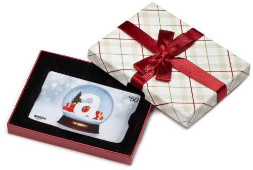 Amazon.com Plaid Gift Card Box – $50, Holiday Globe Card image