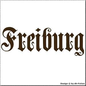 cartattoo4you AK-01584 | FREIBURG - Fraktur / Altdeutsche Schrift | Autoaufkleber Aufkleber FARBE braun , in 23 weiteren Farben erhältlich , glänzend 17 x 5 cm in PREMIUM - Qualität Waschstrassenfest VERSANDKOSTENFREI