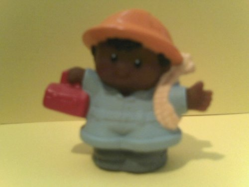 Little People Replacement Figure Construction Worker Eddie Holding Lunchbox and Rope - 1