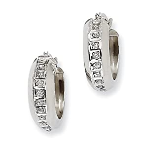 Genuine IceCarats Designer Jewelry Gift 14K White Gold Diamond Fascination Round Hinged Hoop Earrings In 14K White Gold