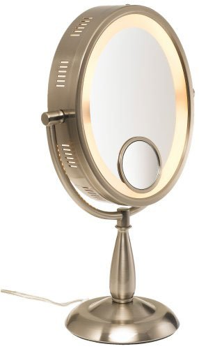 "Seeall Large 10"" Oval Brushed Nickel Finish Lighted Pedestal Makeup Mirror front-1071007"