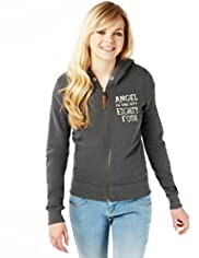 Angel Zip Through Hooded Sweat Top