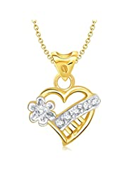Vina Lily Flower Heart Shape Gold And Rhodium Plated Pendant - P1170G [VKP1170G]