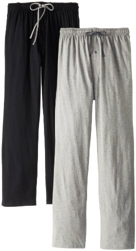 Hanes Men's Solid Knit Jersey Pajama Pant, Black/Light Heather Grey, Medium (Pack of 2) - 1